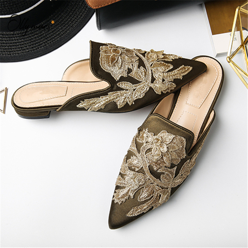OllyMurs New Fashion Spring Summer Shoes Woman Slippers Pointed Toe Satin Embroider Women Shoes Slippers Mules Shoes Woman