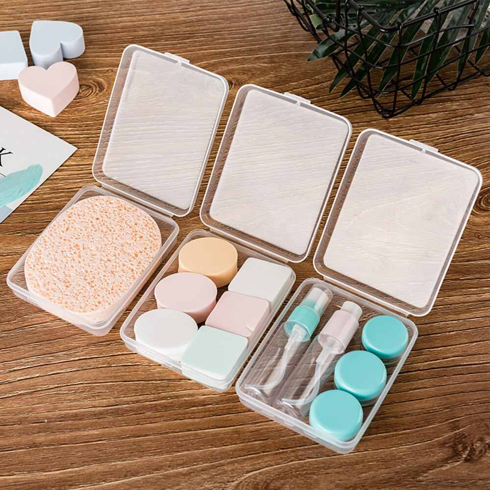 2PCs Plastic Beauty Makeup Sponge Puff Holder Stand Storage Box Portable Travel Container Face Powder Cosmetic Egg Puff Case