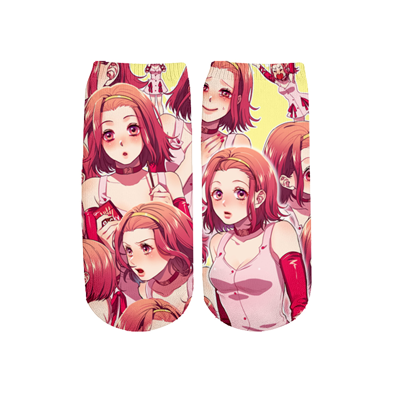 PLstar Cosmos Girl Anime 3D Printed Face Red Woman Cute Cotton Short Ankle Socks For Men Women Harajuku Shy Girl Sexy Socks