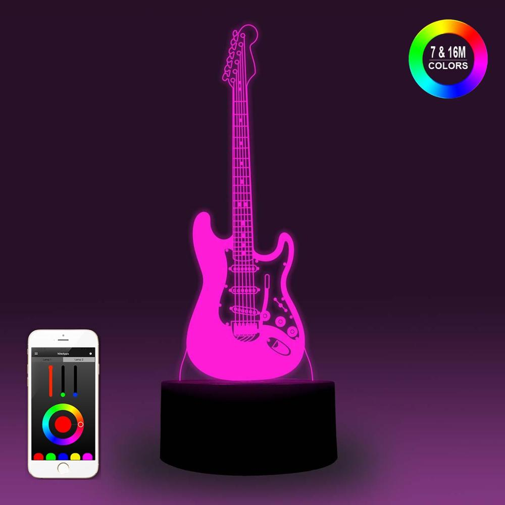 NiteApps 3D Guitar Night Light Desk Table Illusion Decoration Lamp Holiday Birthday Gift APP/Touch Control