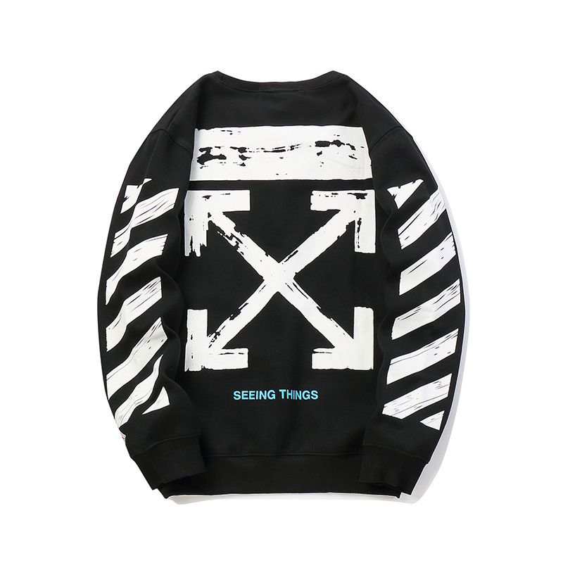 Europe And America Popular Brand Off White Arrowhead Printed Base-Crew Neck Men And Women Celebrity Style Hoodie Fashion