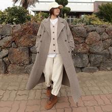 Women Wool Blends Autumn Winter Woolen Coat Female Mid-Long Temperament Womens Popular