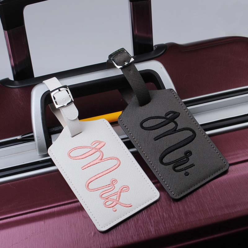 Travel Accessories Embroidered Luggage Tag Couples Portable PU Leather Label Suitcase ID Address Holder Baggage Boarding Tag