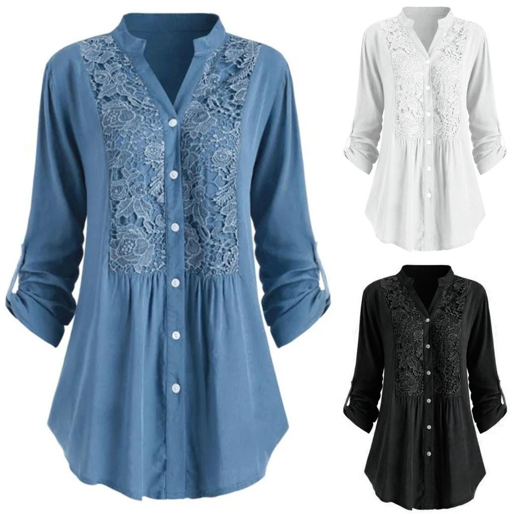 5xl Plus Size Lace Patchwork Tunic Tops Sexy V neck Blouse Women Ladies Button Shirt Long Sleeve Spring Blouses Рубашка Женская