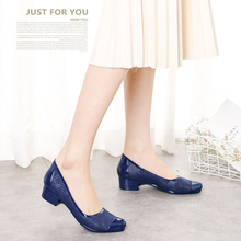 Fashion sandals women's shallow slope heel non slip single shoes hollow plastic breathable casual out jelly