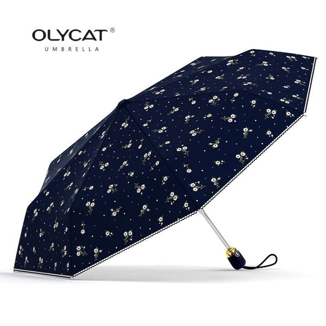 Women's Umbrellas Automatic Sunscreen Anti UV Flowers Brand Umbrella Rain Women Olycat Parasol Female Folding Umbrella Windproof 2
