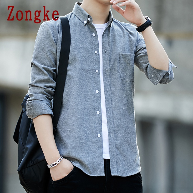 Zongke 2020 New Spring Solid Men Shirt Male Clothing Slim Fit Oxford Cotton Long Sleeve Casual Shirts Men Fashion Brand M-5XL