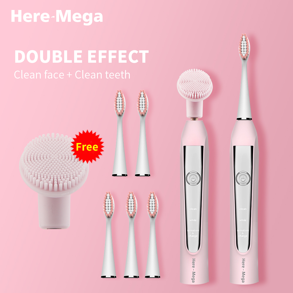 HERE-MEGA Electric Sonic Toothbrush USB Rechargeable Electronic Automatic Cleansing Brush Head Ultrasonic Whitening Teeth Adult