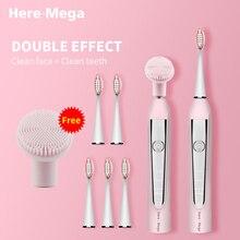 HERE MEGA חשמלי sonic מברשת שיניים USB נטענת אלקטרוני אוטומטי ניקוי מברשת ראש Ultra sonic הלבנת שיניים למבוגרים