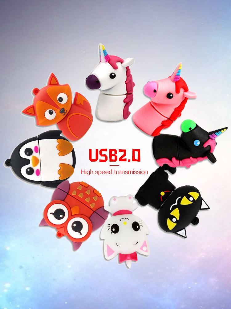 USB2.0 128GB Unicorn Cartoon Pendrive Usb Flash Drive 256gb 512gb  Drive Flash Disk 16gb 32 Gb 64gb Flash Memory Pen Drive 8gb