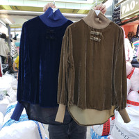 Winter Velour Shirt Women Autumn and Winter Velvet Blouse High Collar Casual Warm Basic Blouse for Women Blue Sweatshirt Pull