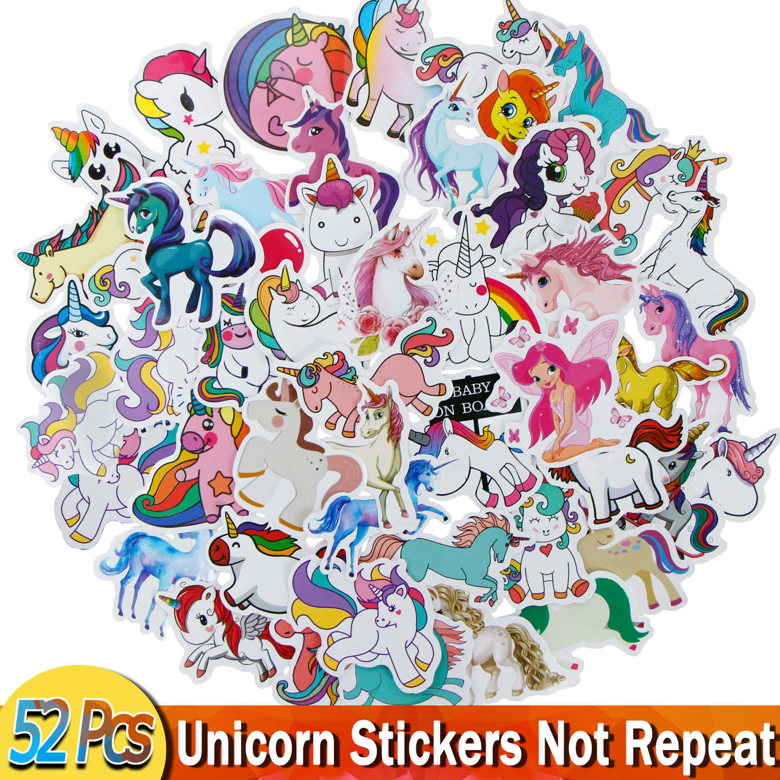 52 Pcs Stiker Untuk Unicorn Kartun Hewan Tahan Air Lucu Graffiti Sticker Untuk DIY Bagasi Sepeda Notebook Laptop Gitar Stiker