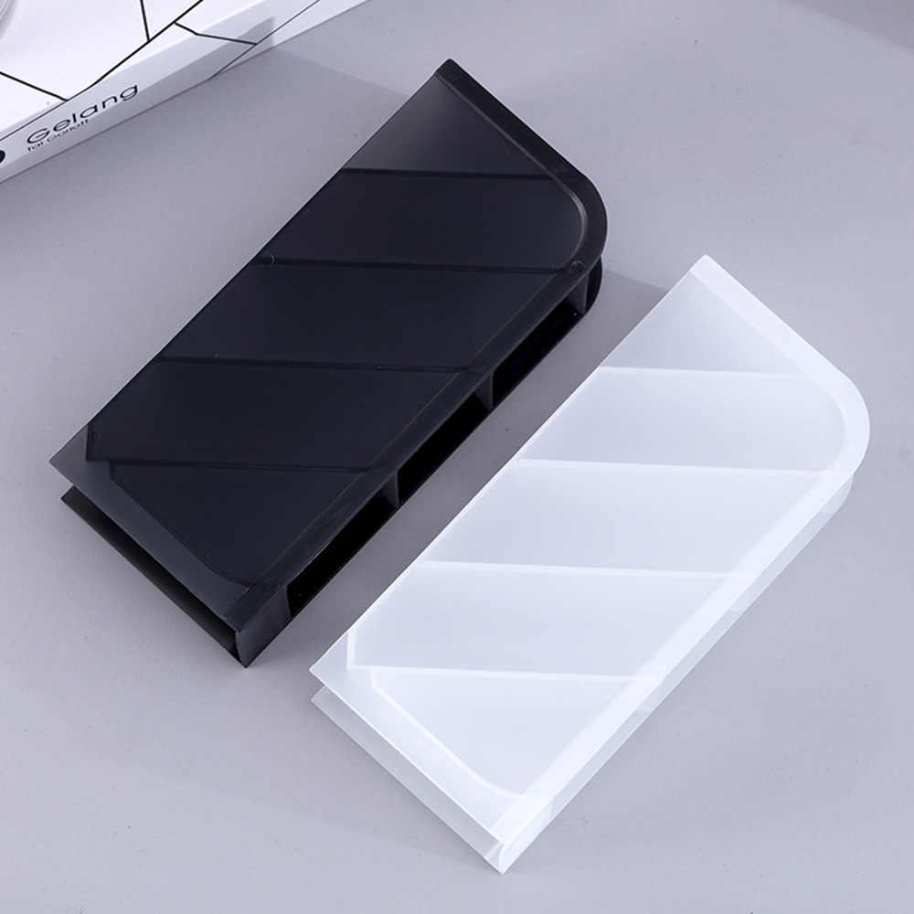 Multi-function 4 Grid Desktop Pen Holder Office School Storage Case Clear White Black Plastic Box Desk Pen Pencil Organizer