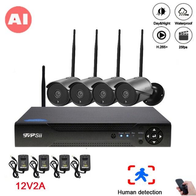 5mp/4mp/2mp Nero 36pcs Infrarossi ICsee Impermeabile IP66 Audio H.265X 25fps 4CH 4 Canali Onvif AI senza fili del IP di WIFI Della Macchina Fotografica kit