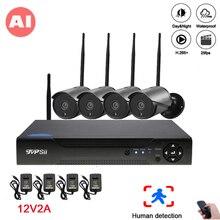 5mp/4mp/2mp Zwart 36 Pcs Infrarood Icsee Waterdichte IP66 Audio H.265X 25fps 4CH 4 Kanaals Onvif Ai draadloze Wifi Ip Camera Kits