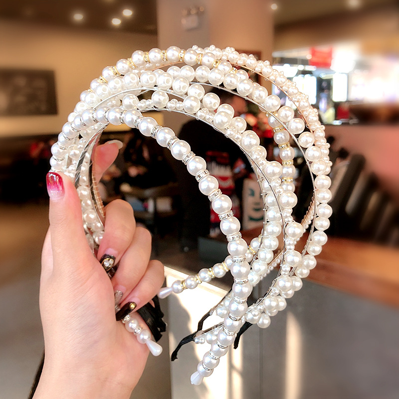 Women Elegant Full Pearls Simple Hairbands Sweet Headband Hair Hoops Holder Ornament Head Band Lady Fashion Hair Accessories