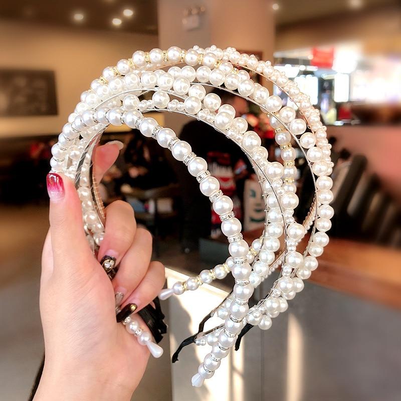 Women Elegant Full Pearls Simple Hairbands Sweet Headband Hair Hoops Holder Ornament Head Band Lady Fashion Hair Accessories
