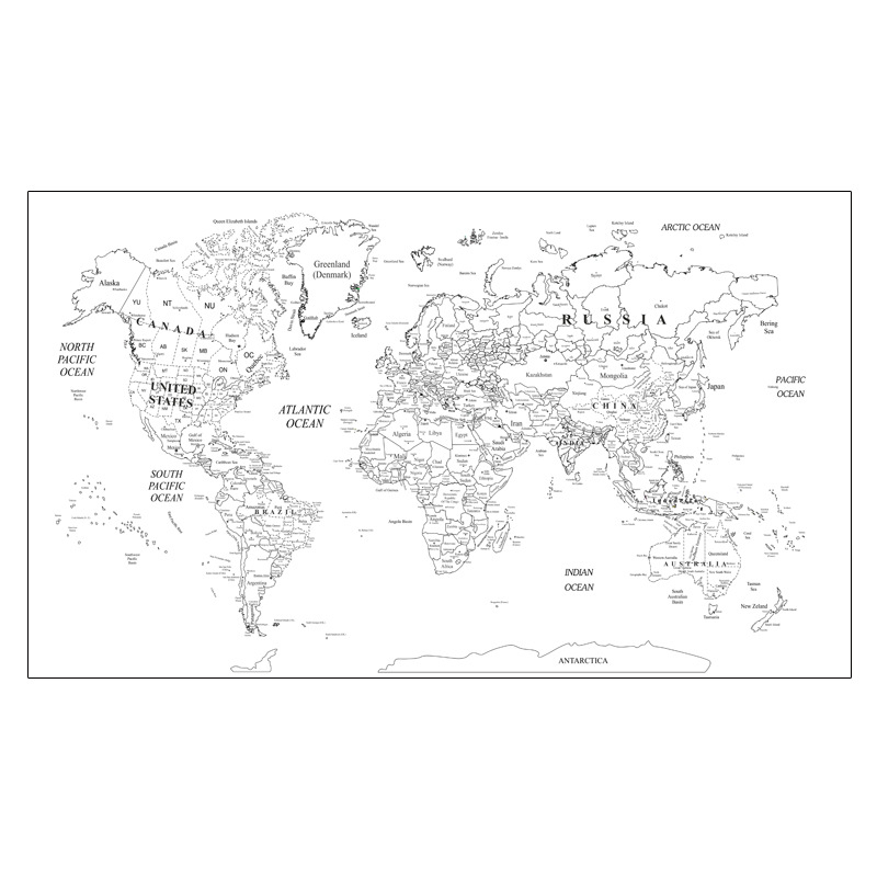 100x59cm DIY World Travel Map Wall Stickers Waterproof Canvas Maps Large Size Wall Decoration Map Of The World Color By Yourself