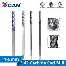 XCAN mèche de fraise dextrémité en carbure, 4/5/6/8mm, outils de gravure, mèche de routeur, 4 cannelures, CNC