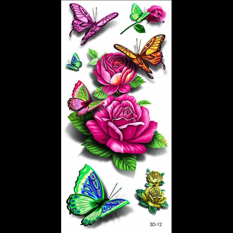 3D กันน้ำชั่วคราว TATTOO สติกเกอร์การ์ตูนน่ารักสัตว์ดอกไม้รอยสักที่มีสีสันแขนชายปลอมรอยสัก Body Art รอยสัก