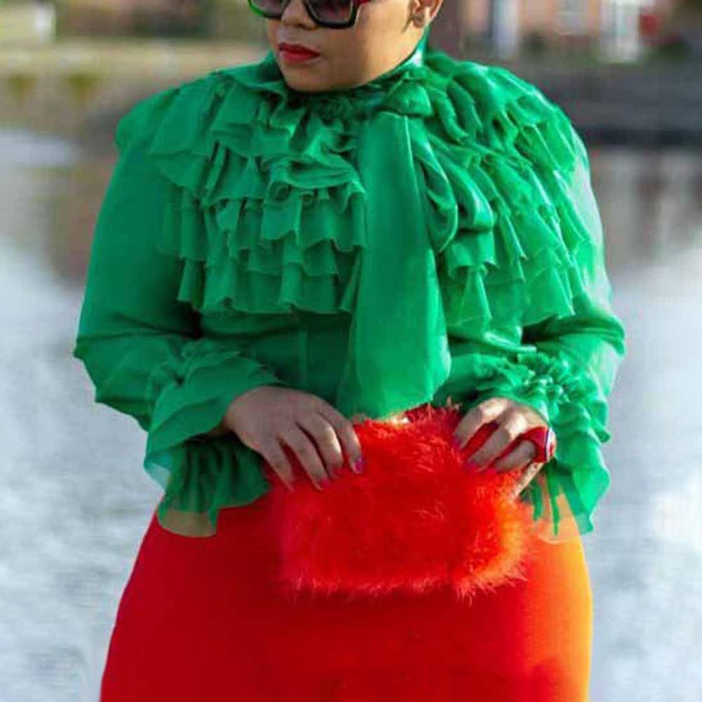 Summer Casual Green Plus Size Elegant Party Blouses Woman 2019 Falbala Tops Slim African Office Ladies Women Fashion Shirts