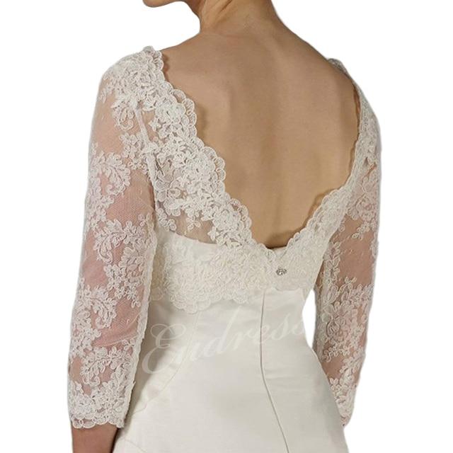 Elegant Lace Bridal Jackets 3/4 Sleeves Round Neck Wraps for Bridal Dress Bridal Bolero Wrap White Lace Bride Shawl Outwear