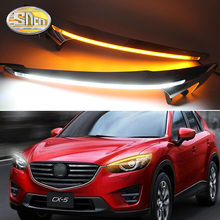 For Mazda CX-5 CX5 2013 2014 2015 2016 , LED Headlight Brow Eyebrow Daytime Running Light DRL With Yellow Turn signal Light cx 5 carbon fiber headlight eyelid trim headlamp eyebrow for mazda cx5 2012 2013 2014 2015 2016