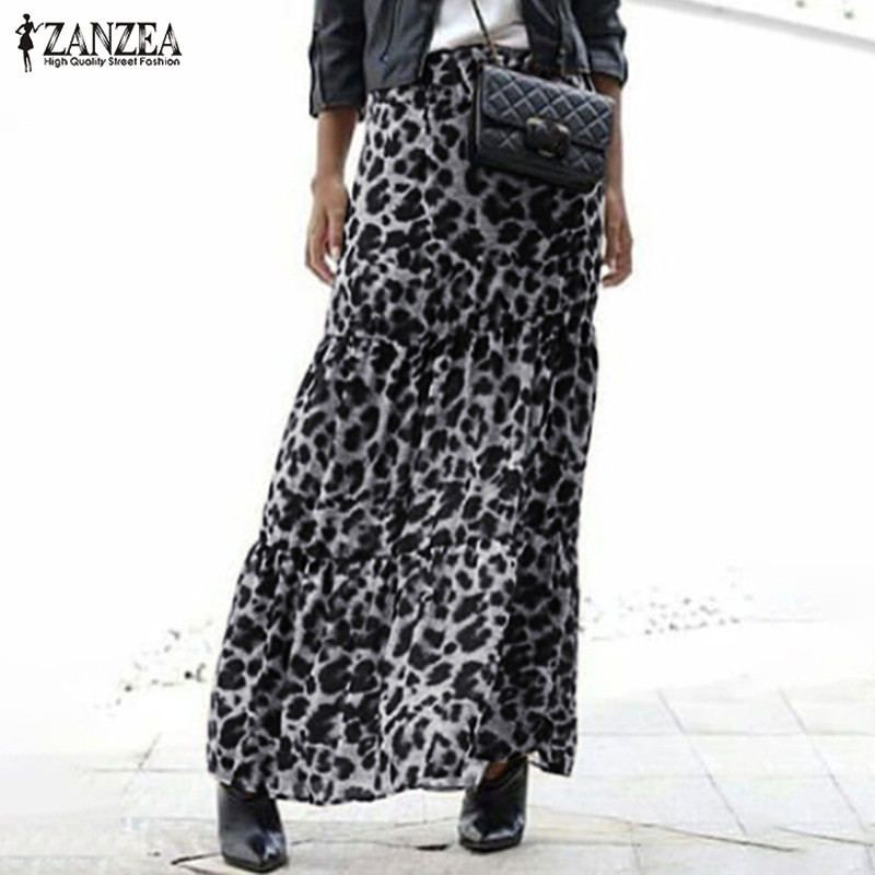 Spring Long Skirt ZANZEA Women Party Maxi Skirts Fashion Leopard Print Summer Casual Elastic Waist Loose Skirts Female Vestido