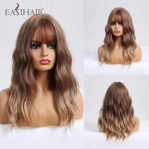 EASIHAIR Wave Wigs with Bangs Ombre Brown Blonde Synthetic Wigs for Women Body Wavy Cosplay Wigs Heat Resistant Wigs