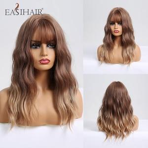Image 1 - Easihairウェーブかつら前髪オンブル茶色ブロンド合成かつら女性ボディ波状ウィッグ耐熱ウィッグ