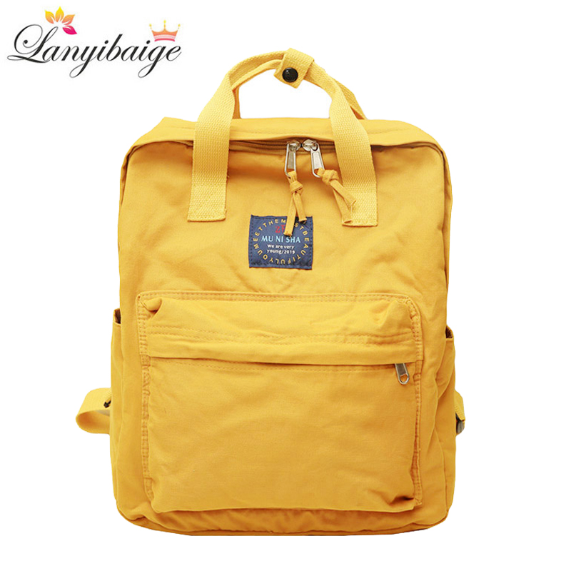 Fashion Women Canvas Backpacks Solid Color Waterproof School Bags For Teenagers Girls Big Laptop Backpack Cute School Backpack