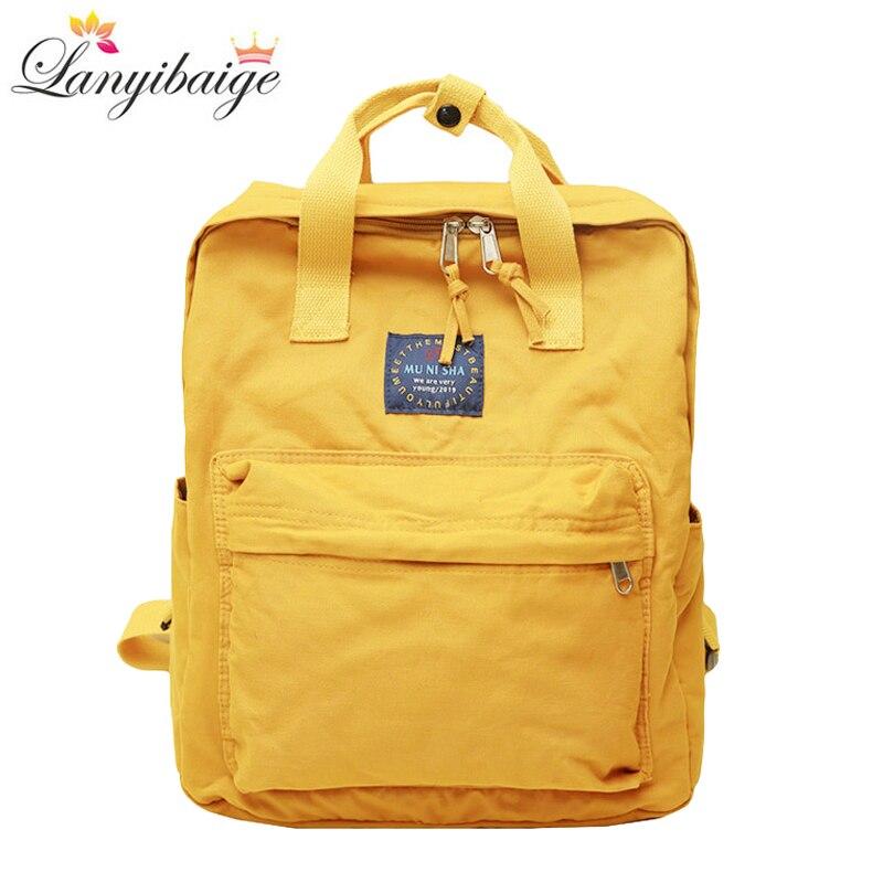 Fashion Women Canvas Backpacks Solid Color Waterproof School Bags For Teenagers Girls Big Laptop Backpack Cute School Backpack