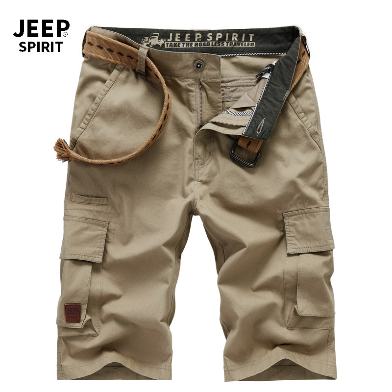 JEEP SPIRIT Brand Mens Shorts Summer Casual Cotton Mid-waist Knee Length Cargo Short Men With Many Pockets Short Hombre No Belt