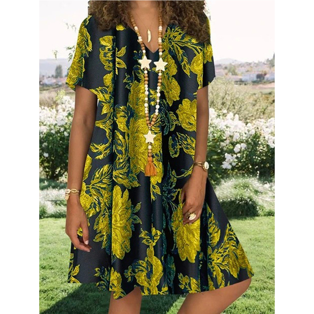 Casual Dress Women Plus Size Summer Floral Print Short Sleeve Loose Party Dress Elegant Retro V