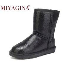 MIYAGINA wodoodporne oryginalne skórzane buty zimowe ciepłe buty damskie klasyczne buty śnieżne damskie buty skórzane buty damskie