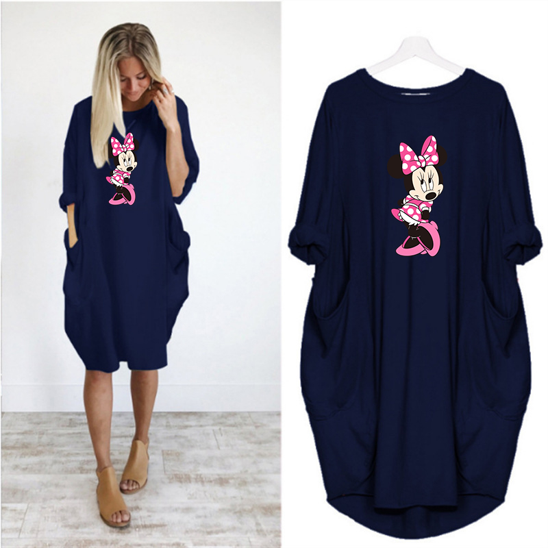 2020 Dress Women Cute Printing Pocket Loose Dresses Vintage Fall Maxi Clothes Party Casual Dresses Woman Plus Size Leopard Dress 12