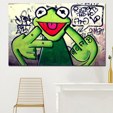 2017 Street Frog Kermit Finger Graffiti Art Canvas Painting Banksy Wall Pictures For Living Room Printed for living room