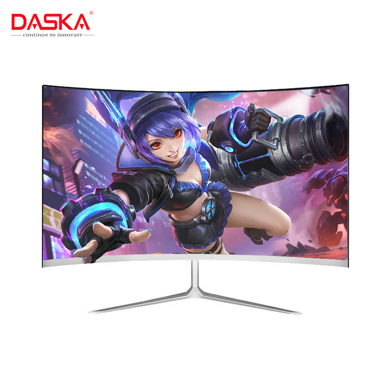 DASKA 23.8 inch Game Competition Curved Widescreen IPS/Led 24 Gaming Monitor 75Hz HDMI/VGA input White/Red Monitor image