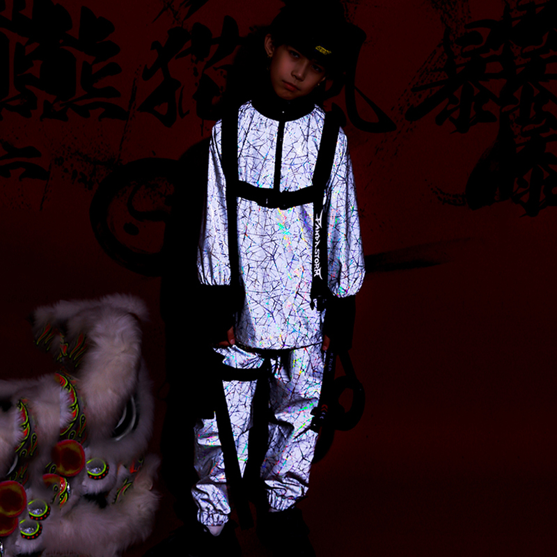 Hip Hop Dance Costumes Reflective Loose Street Dance Jacket Suit Boys Girls Stage Performance Clothing Jazz Rave Outfit DN4997
