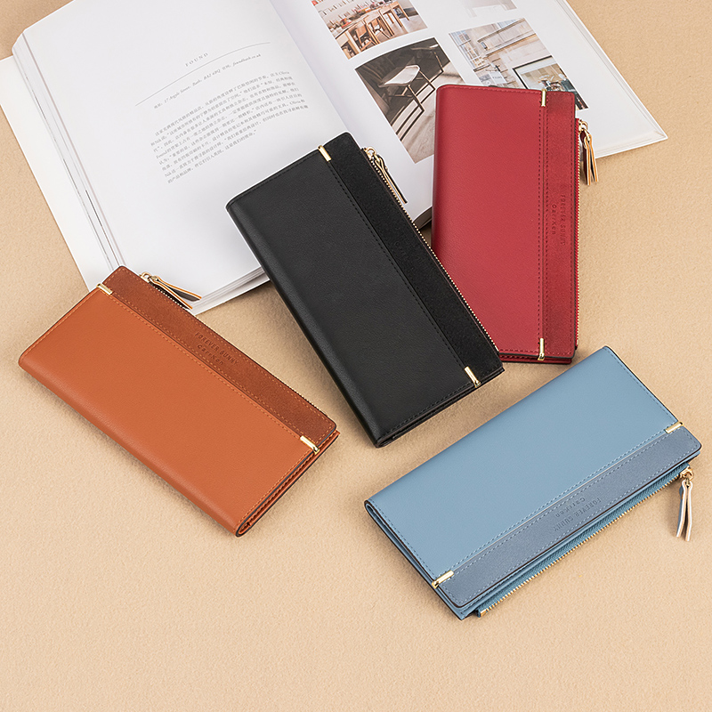 2020 New Women's Wallet Medium Long Korean Fashion Vertical Card Holder Leather Leather Zip Coin Purse