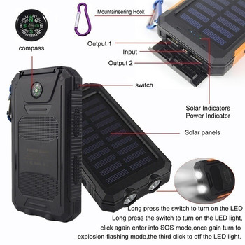 30000 mAh Waterproof Solar Power Bank Dual USB with SOS LED Charger Travel Powerbank for All Phone of All Over The World 3