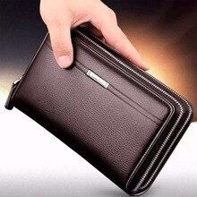 Men wallets with coin pocket long zipper coin purse men clutch business Male Wallet Double zipper Vintage Large Wallet Purse недорого