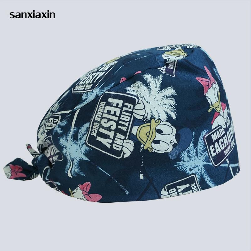 Sanxiaxin New Breathable Print Adjustable Pet Hospital Work Hats Surgical Caps Women Men Doctor Nurse Caps Beauty Pharmacy Hats