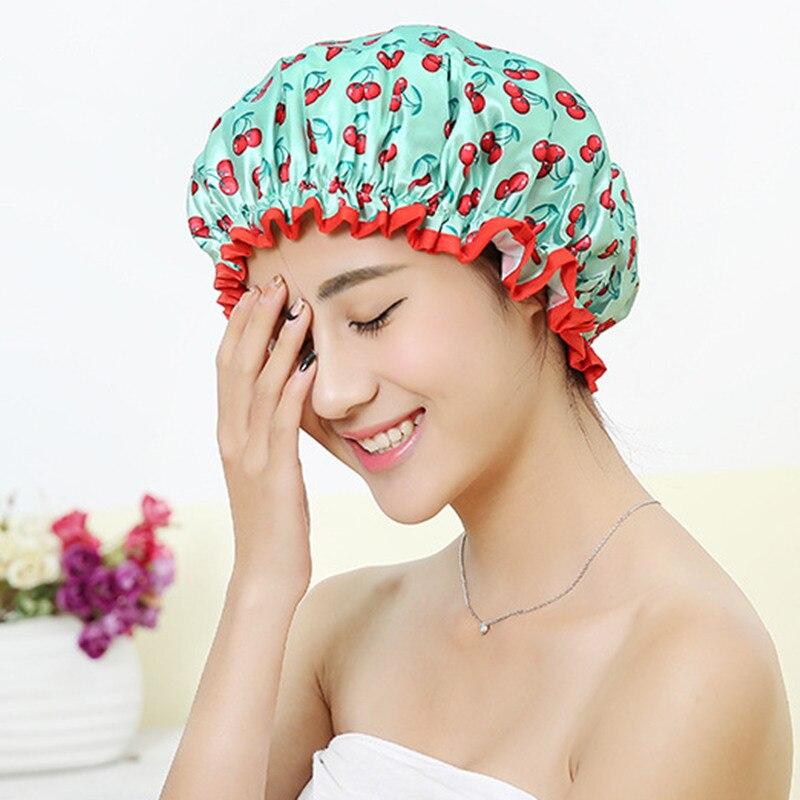 Женская шапка для волос, головной убор, принадлежности для ванной, двухслойная Водонепроницаемая плотная Крышка для душа, аксессуары