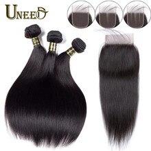 Mèches brésiliennes Remy lisses avec Closure – Uneed Hair, Extension de cheveux 3/4 naturels, 8-26 pouces, tissage en lot de 100%