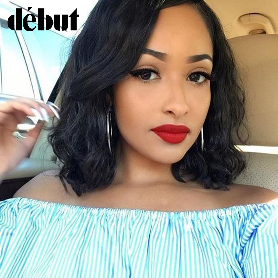 Debut Lace Frontal Curly Human Hair Wig Brazilian Wet And Wavy Curl Short Bob Remy Lace Part Wigs For Women Cheap Black Wigs