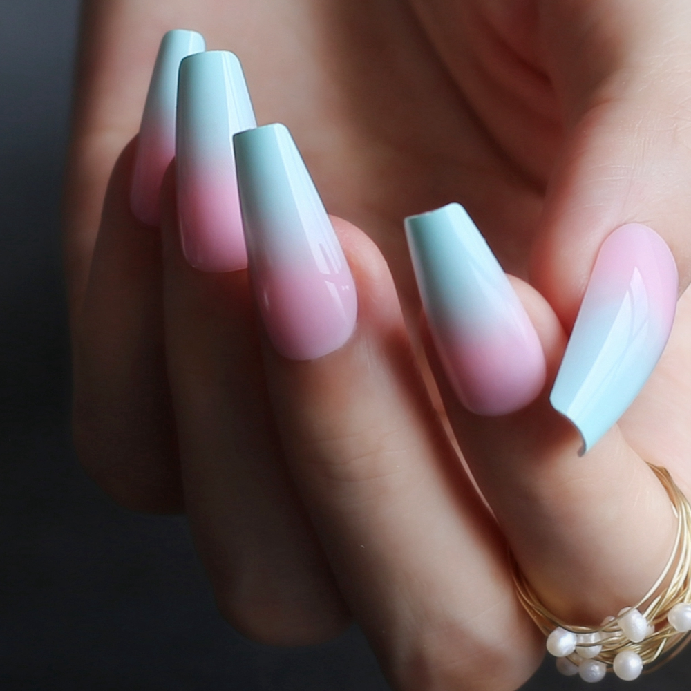 Long Pink Blue Ombre Coffin French Shiny Fake Nails Summer Lovely Salon Glossy Ballet Nails False Nail Medium Art