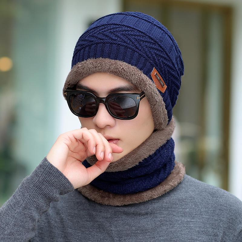 COKK зимние шапки с бархатным воротником для мужчин бини вязаная шапка с шарфом вельветовый утепленный комплект ветрозащитная уличная Зимняя распродажа - Цвет: Blue Brown