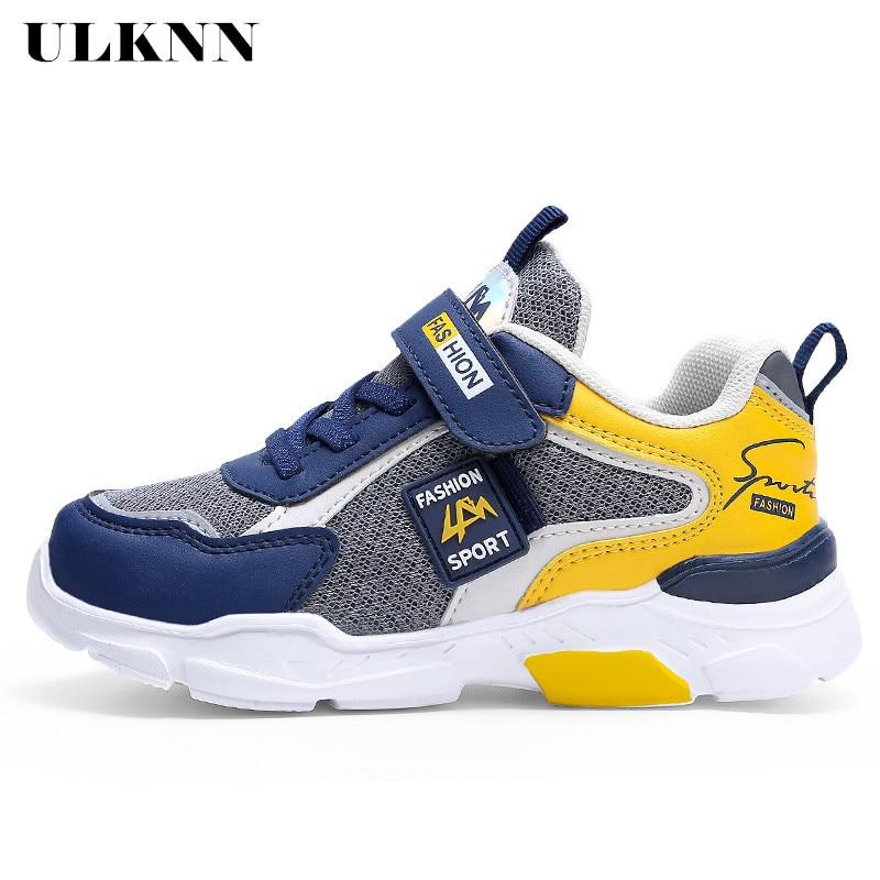 ULKNN Spring 2020 New Children's Shoes Boy Sneakers Leather Waterproof Pupils Big Virgin Boy Sports Running Shoes