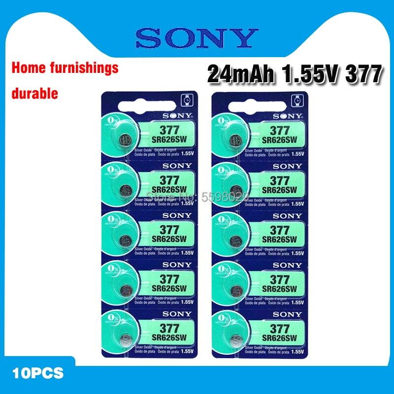 10 pces sony 100% original 377 sr626sw sr626 ag4 1.55 v prata óxido relógio bateria sr626sw 377 botão da pilha da moeda feita no japão
